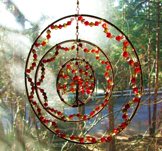 Fire Tree of Life Sun Catcher Triple Ring