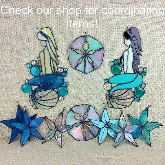 Stained Glass Sea Shell Amber Beach Decor Glass Art