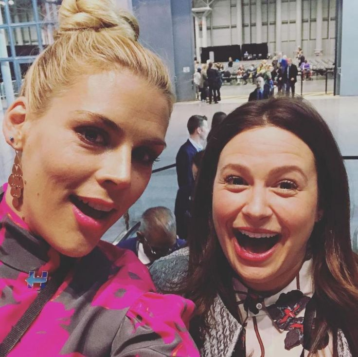 """""""We are overwhelmed with emotion."""" Busy Philipps captioned this photo of herself with """"Scandal"""" actress Katie Lowes on Instagram on Nov. 8, 2016."""