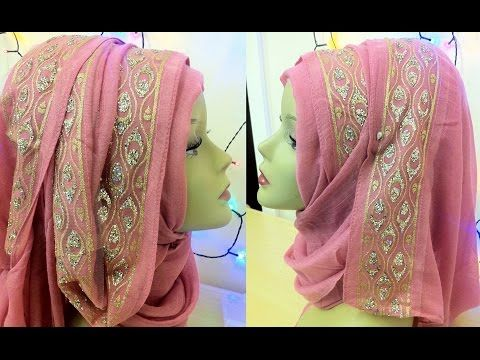 Fancy bordered hijab style || By Shum Stuff - YouTube