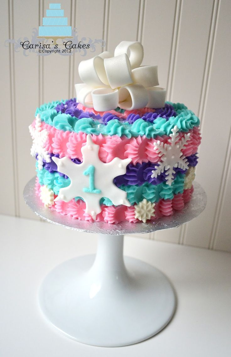 """Winter """"ONE""""derland -- First Birthday - Cake made for a little girl turning one in the month of December. Description from pinterest.com. I searched for this on bing.com/images"""