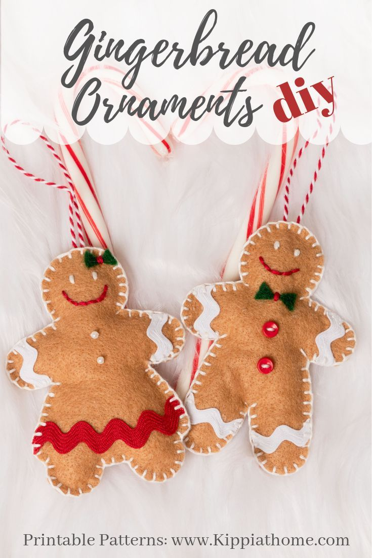 Free Printable Pattern Felt Gingerbread Girl Christmas Ornament