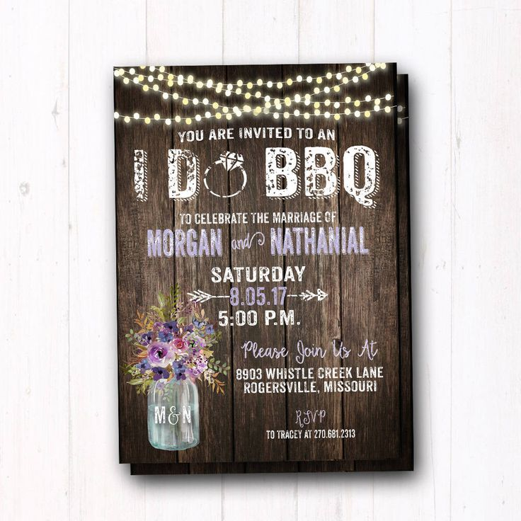 baby shower bbq invitation templates%0A Rustic I Do BBQ Invitation  Plum  Purple Lavender Couples Shower Invite   Barn Wood  String Lights  Country Farm Wedding  Mason Jar