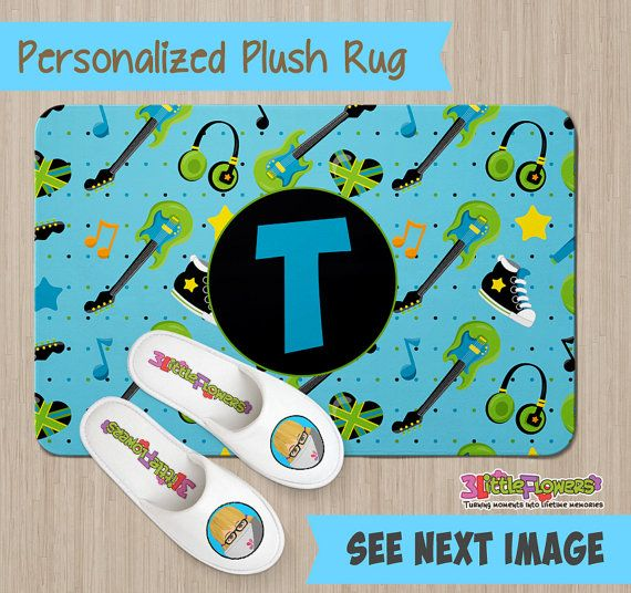 Personalized Rock Star Rug - Personalized Plush Rug - Personalized Nursery Rug - Children Rug - Nursery Musical Notes Rug - Rock Room