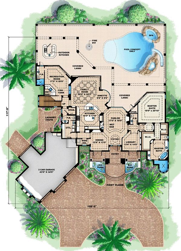Florida mediterranean house plan 60462 house plans for Mansion floor plans sims 4