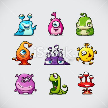 Cute Cartoon Monsters Royalty Free Stock Vector Art Illustration
