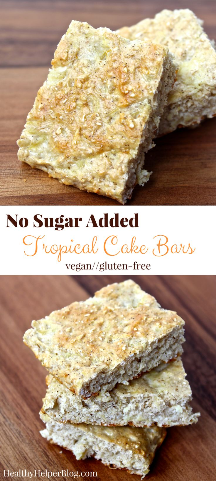 No Sugar Added Tropical Cake Bars | @Healthy_Helper Sweet, tropical cake bars that serve as the perfect summer snack! Soft and doughy, these bars will take your tastebuds on vacation without ever leaving your home. Gluten-free, vegan, and only sweetened with fruit!
