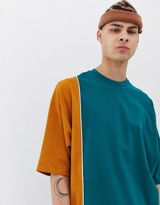 1d2edb426694 ASOS DESIGN oversized longline t-shirt with half sleeve and vertical color  block