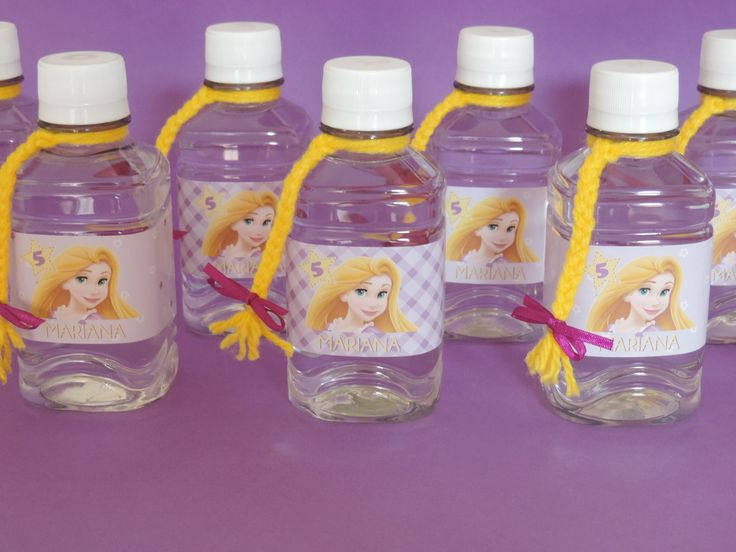 Botellitas de agua personalizadas para fiesta de Rapunzel