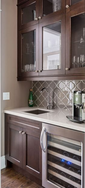 Beau Glass Arabesque Tile Fountain Grey · FountainArabesque TileHouse IdeasBar GreyGlassBacksplashBasementsKitchens
