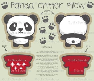 Panda bear critter pillow whith English instructions. Panda + jersey. On sale in Spooflower, desing by Sawabona
