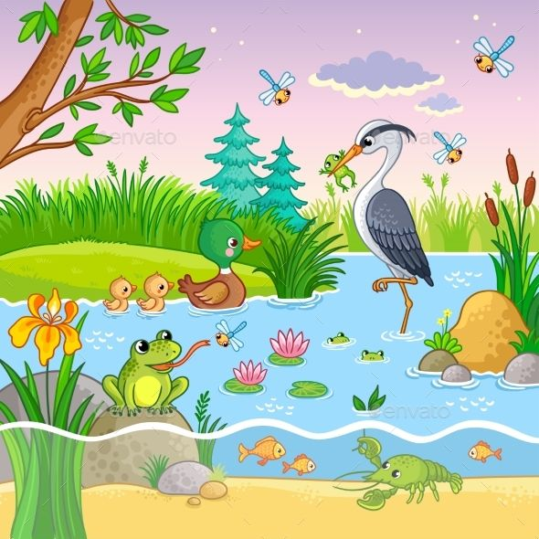Vector Set With Nature And Animals Nature Drawing For Kids Cartoon Styles Art Drawings For Kids