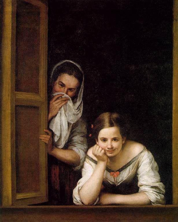 Murillo. Femmes au balcon (1670) sourire rare dans la peinture à cette époque et on ne montre pas ses dents comme la femme au second plan .