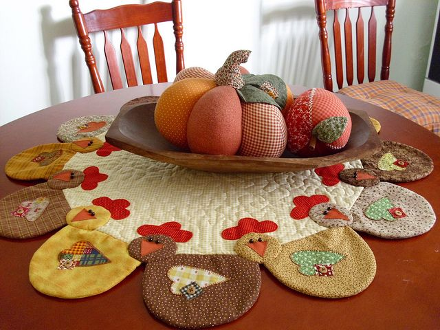 Tapete patchwork con gallinas
