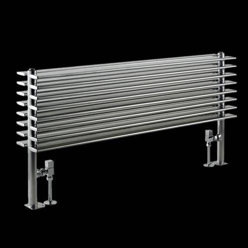 Design Heizkörper 2 Lagig Horizontal Silber Mit Standbeinen 1292 Watt 504mm  X 1000mm Fin