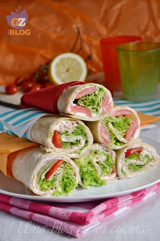 piadine arrotolate - rolled tortillas stuffed
