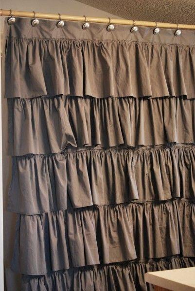 DIY super cute shower curtain: Diy Anthropology, Idea, Color, Ruffles Shower Curtains, Diy Shower, Anthropologie Shower, Shower Curtains Lov, Sewing Machine, Anthropology Shower