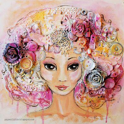 Riikka Kovasin - Paperiliitin: Pink fairy - Mixed Media Place