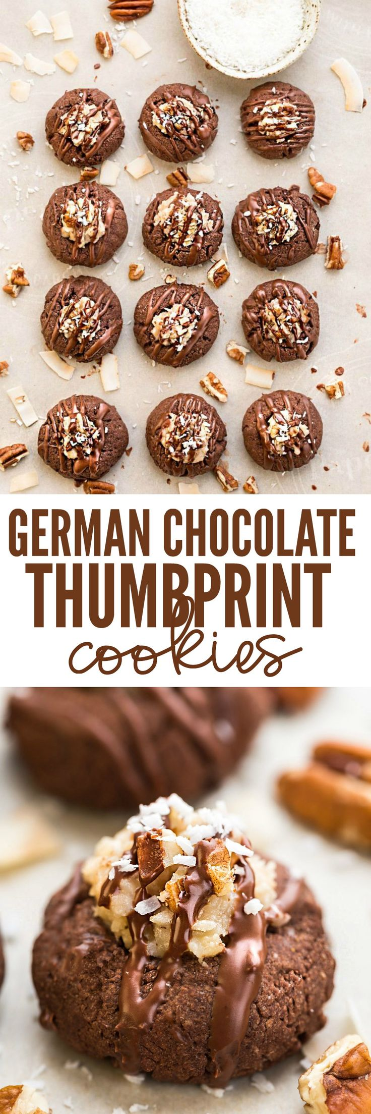 All of the things you love about German Chocolate Cake in a cute little thumbprint cookie! A rich, chocolate shortbread with a coconut pecan frosting and drizzled in chocolate!