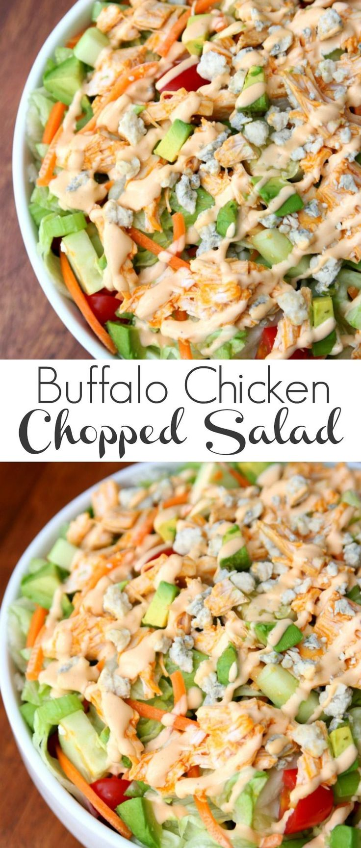 Buffalo Chicken Chopped Salad - Happy-Go-Lucky #TimelessPizza AD