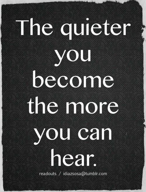 The words of God are heard better when we're silent to our own devices. Oh, yes, it my chaotic mind this is most important...Meditate!!! Pray!!! Be still and know that He is!!!
