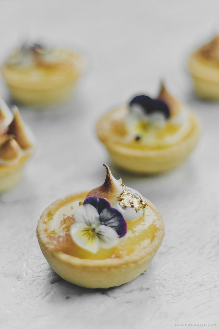 Lemon & Lime flavour tartlets topped with a beautiful edible flower
