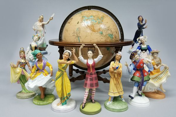 You can almost hear the music! One of Royal Doulton's most popular series, Dancers of the World features some of the best sculpted and finely painted figurines ever produced. Issued from 1977 to 1982, the series showcases traditional garb and dance from a dozen countries, including colorful dancers from Spain, China, India, the Philippines, and Poland. Each figure was issued in a limited edition of 750. #RoyalDoulton #DancersOfTheWorld