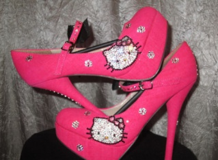 Pink Hello Kitty strapped pumps. $130.00