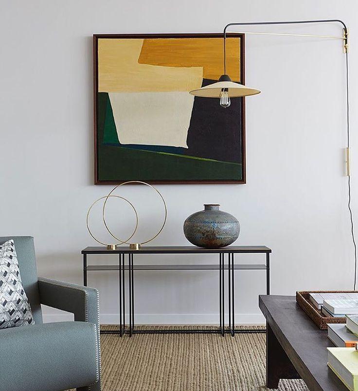 Interiors by Banda, artwork by Marie Soliman, Console by NOVOCASTRIAN #furniture #property #development #coffee #interiors #design #architecture #interiordesign #livingroom #steel #brass #metal #craft #furnituredesign