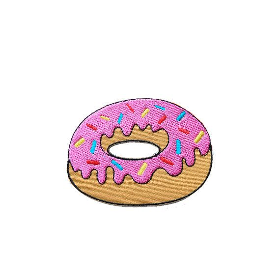 Iron on Patch-  Donut / Doughnut Embroidered Iron on Patch / Iron on Applique
