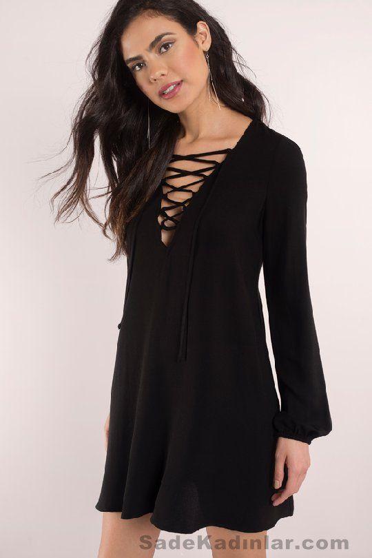 Günlük Elbise 2018 Şık ve Rahat Yazlık Elbiseler siyah kısa uzun kollu