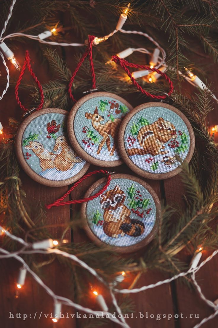 "Вышивка на ладони: Janlynn ""Woodland Creatures Ornaments"" и наша Ёлка."
