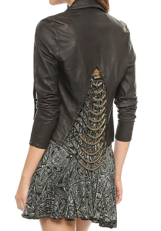 Love the Back Design! Black and Gold Plain Long Sleeve PU Leather Jacket #Black_and_Gold #Black #Moto #Style #Leather #Jacket #Fall #Winter #Trends