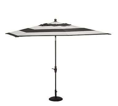 Rectangular Umbrella With Aluminum Pole, Sunbrella(R) Awning Stripe, Black /White