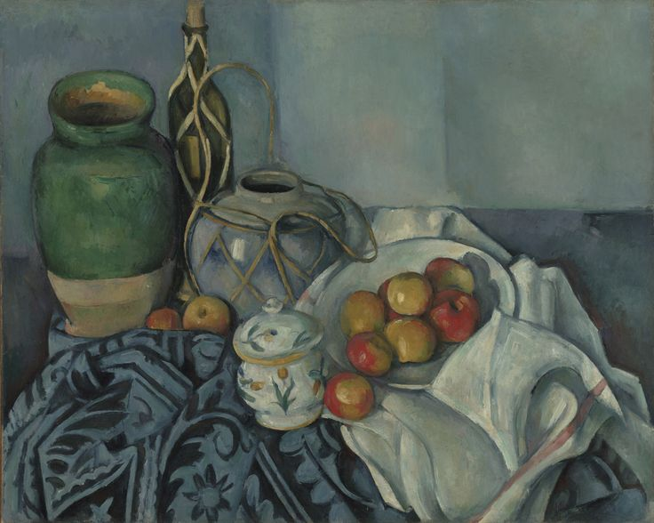 "Paul Cézanne, ""Still Life with Apples,"" 1893-1894. Giving form and mass to objects through the juxtaposition of brushstrokes and carefully balanced colors and textures, he gave the painting a sense of comforting stability."