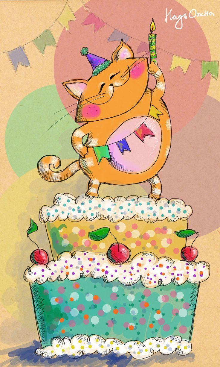 Gato con torta de cumpleaños