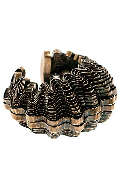 Aisna Bracelet in Rose Gold and Brown Metal and Calf Hair Roberto Cavalli jUil879e