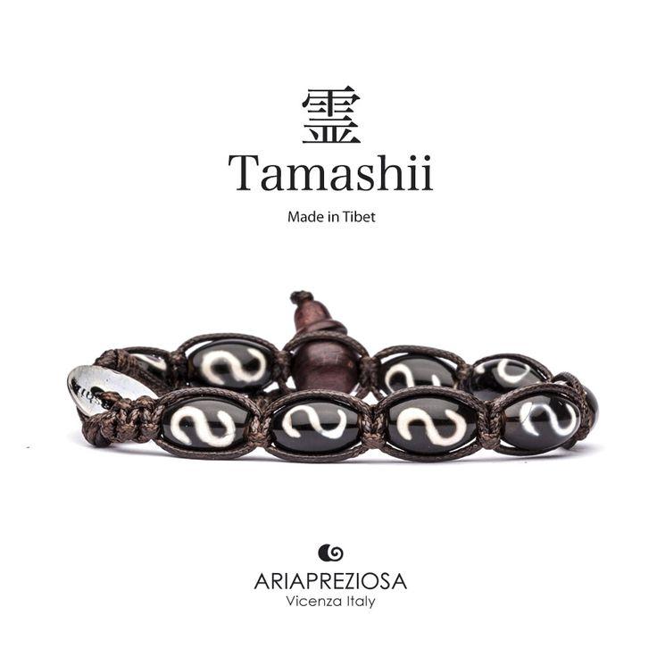 """Tamashii - Serie Speciale BkraShi realizzato con pietre naturali Onice con disegno tradizionale a mano dal significato """"PROSPERITÀ"""""""