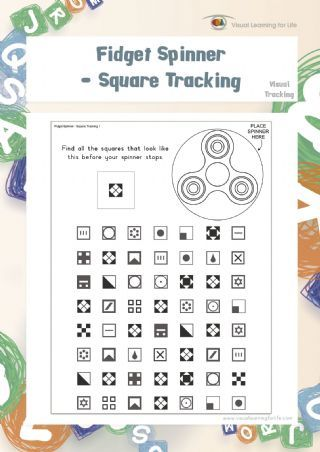 """In the """"Fidget Spinner - Square Tracking"""" worksheets, the student must find all the squares that look the same as the example at the top of the page before their spinner stops."""