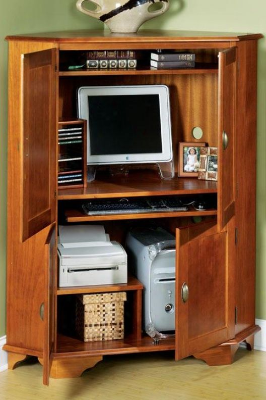 Kitchen Space Saving Ideas Corner Computer Armoire - For Living Room | Living Room In