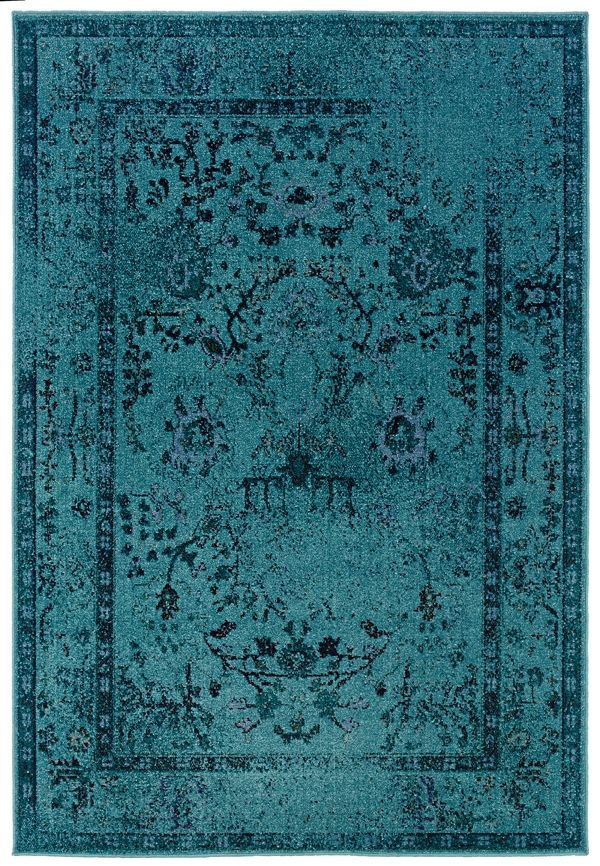 Sphinx Revival 550 Teal / Grey (H2) Area Rugs-turquoise rug over dyed big