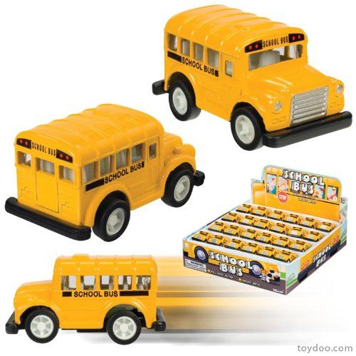 Mini Pull-Back School Bus. Sold Individually. About 2 inches long. Pull-Back Action. These cute mini die cast school busses have pull-back action and measure 2 inches long. Die Cast Metal. Manufacturer Minimun Age: 48 months.