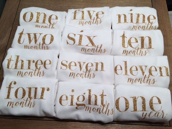 Gold or Light Pink Monthly Onesie Set for by LowcountryArtDesign