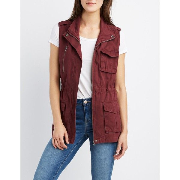 Charlotte Russe Drawstring Cargo Vest ($35) ❤ liked on Polyvore featuring outerwear, vests, burgundy, charlotte russe vest, drawstring vest, vest waistcoat, military cargo vest and red waistcoat