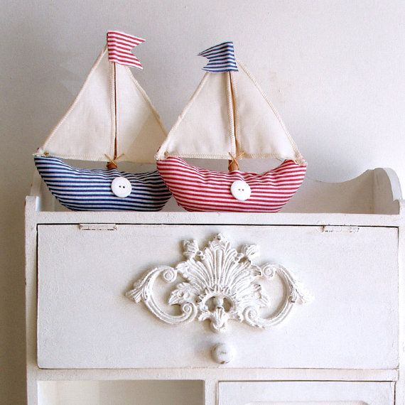 Fabric table boats in red and blue striped fabric by paninohome, $25.00