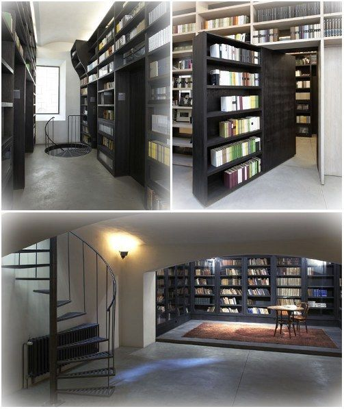 A Kafkaesque one | 14 Secret Bookcase Doors You Wish You Had In Your House