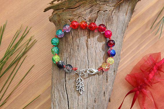 8mm Colorful Beads Leaf Bracelet Clear Crackle Beads Bracelet