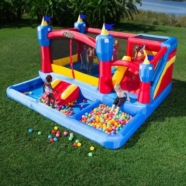 Inflatable Bounce House Outdoor Kids Jump Castle Slides Ball Pit Carry Case Safe #InflatableBounceHouse