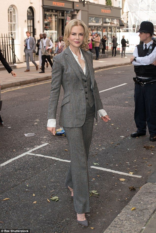 Ready for business: Nicole Kidman Nicole was smart in a grey three-piece suit as she arriv...