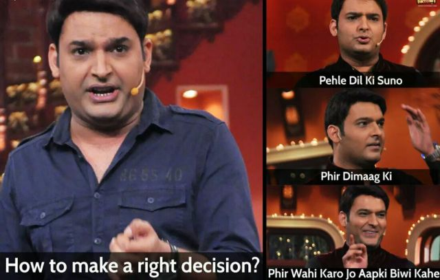 How to make right Decision??.. #FunnyImage Husband And Wife With Kapil Sharma